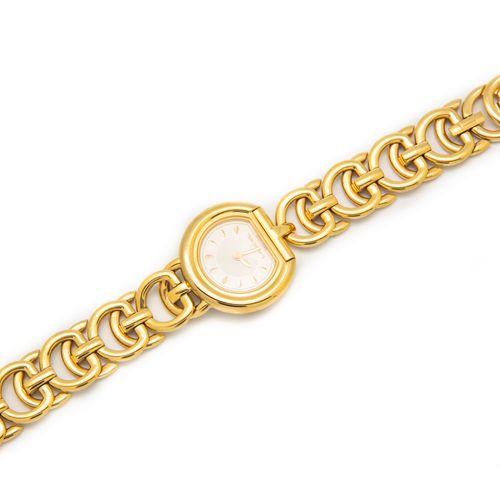 Maison LANCEL  Montre en métal doré, bracelet bijoux