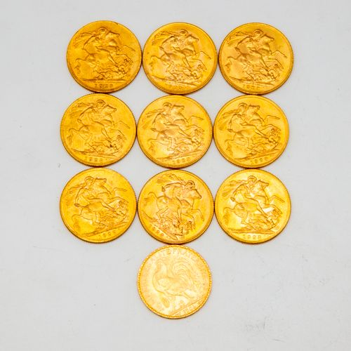 Ten golden sovereigns George V  Dated 1928