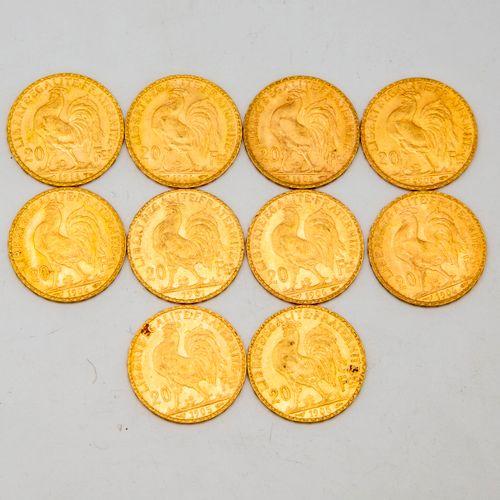 Ten 20 franc gold cockerel coins  1906 1905 1901 1914