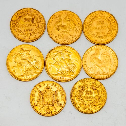 Eight Sovereigns Gold Victoria, Napoleon III Republic  1900 1887 1908 1895 1912 …