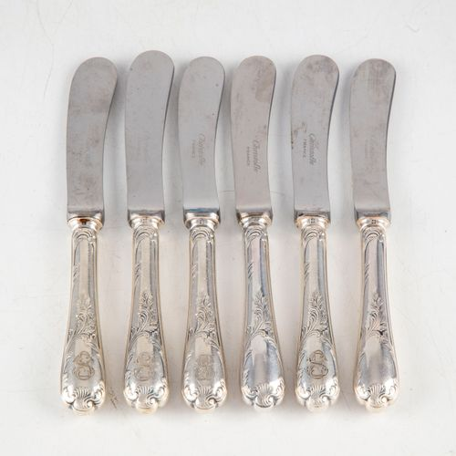 CHRISTOFLE CHRISTOFLE France  Set of 6 silver plated butter knives, rocaille sty…