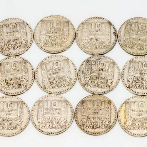 Lot of 12 coins of 10 Francs Turin 1929
