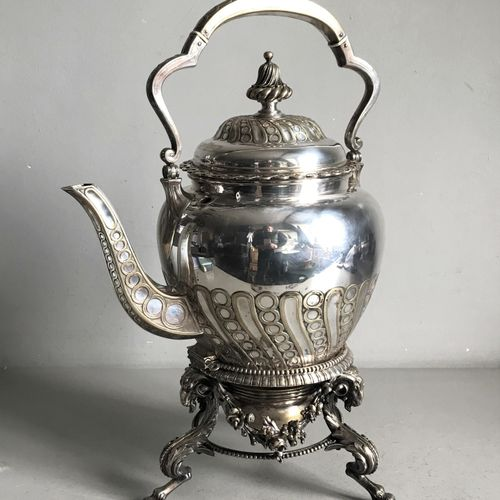 ODIOT House of ODIOT  Important tea fountain in silver plated metal moulded with…