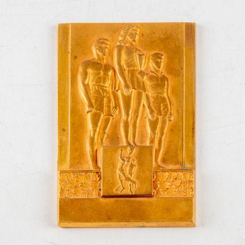 BOUILLOT E. BOUILLOT  The podium  Small art deco style gilt bronze plaque  10 x …