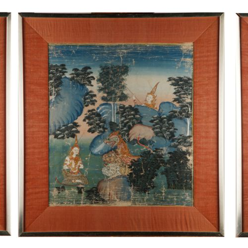 THAÏLANDE THAILAND  Palace scenes or animated landscapes  Suite of three gouache…