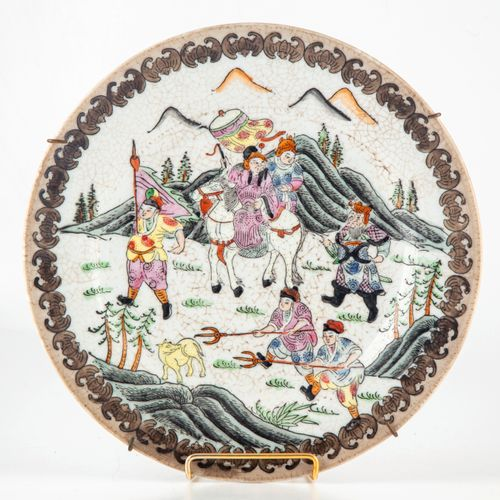 CHINE CHINA  Enameled porcelain plate with Mongolian decoration on a crackled ba…