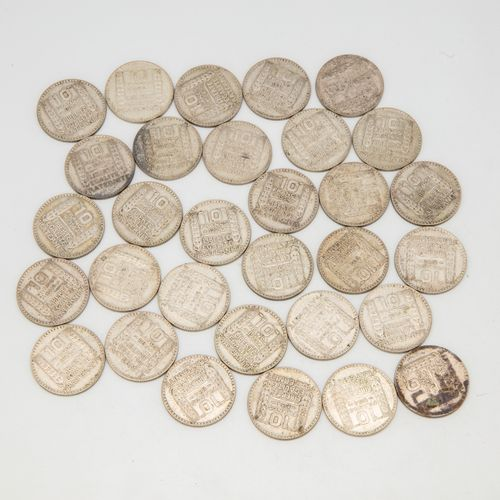 Lot of 31 coins of 10 Francs Turin 1934