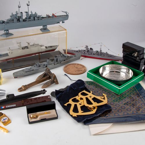 Set of souvenir items on the theme of the Navy (miniature anchor, model of subma…