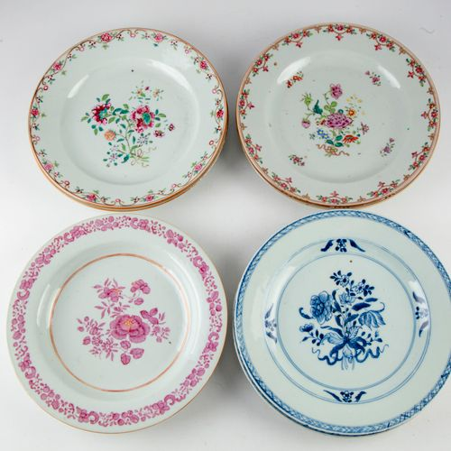 CHINE CHINA & INDIA COMPANY  Set of 5 enamelled porcelain plates decorated with …