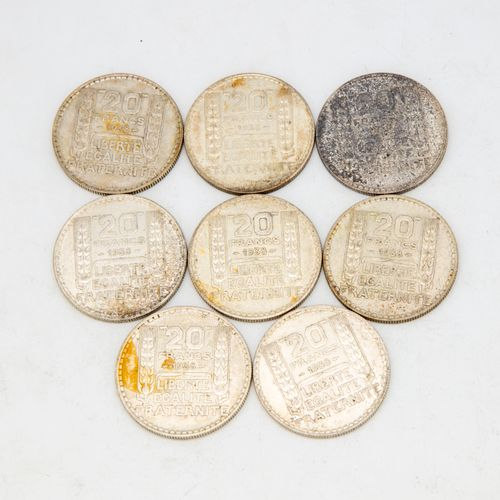 Lot of 8 coins of 20 Francs Turin 1938