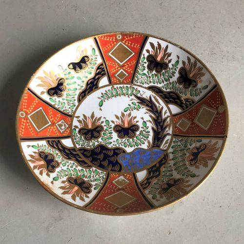Spode SPODE England  Round porcelain bowl richly painted in the Imari palette an…