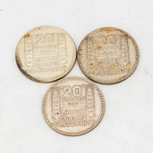 Lot of 3 coins of 20 Francs Turin 1934