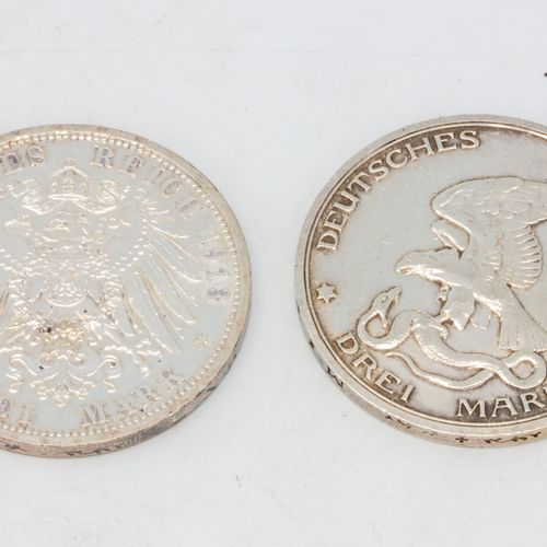 Lot of two coins including:   1 coin of 3 Mark Wilhelm II, 1913 A   1 3 Mark coi…