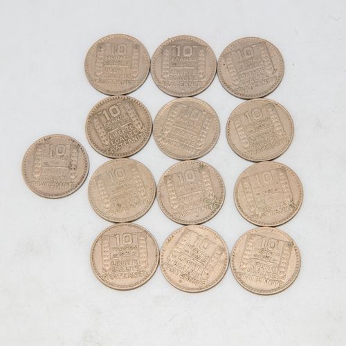 Lot of 13 coins of 10 Francs Turin 1947
