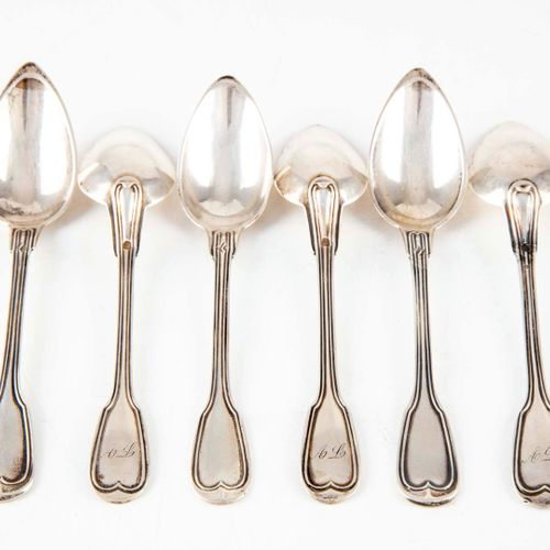 """Set of six silver dessert spoons with """"AL"""" numerals.  M.O. : LL (For Louis LOYET…"""