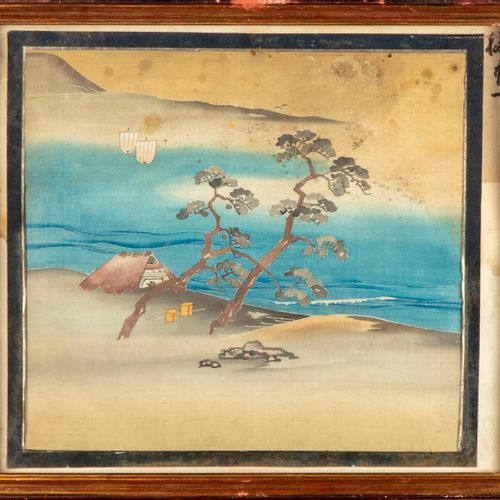 JAPON JAPAN  Set of 4 paintings on silk  35 x 40 cm  Traces of humidity