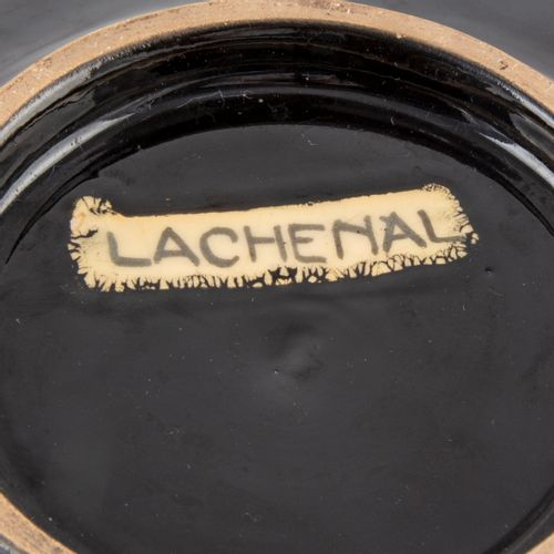 "Lachenal Edmond LACHENAL (1855 1930)  Black glazed earthenware dish  Signed ""Lac…"
