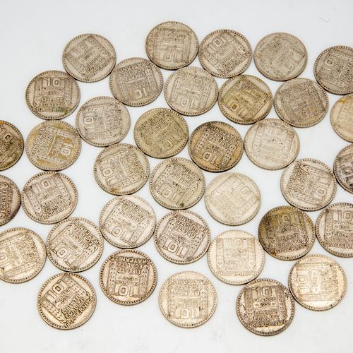 Lot of 36 coins of 10 Francs Turin 1933