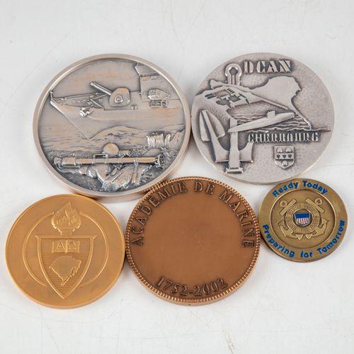 Set of bronze medals on the theme of the Navy, including :   Medal of the Académ…