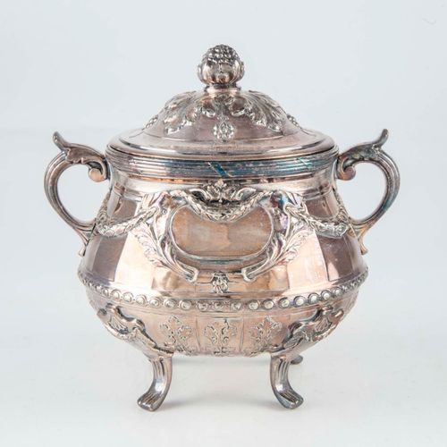 Gallia House  Sugar bowl in metal gallia of rocaille style.
