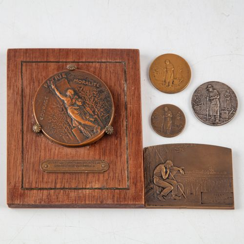 Set of 5 bronze medals on the theme of horticulture.