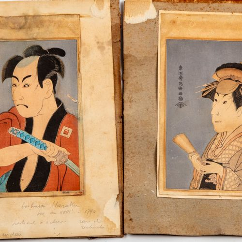 JAPON JAPAN Two prints portrait of an actor (Otani TOKUTI ?) and a woman  15 x 1…