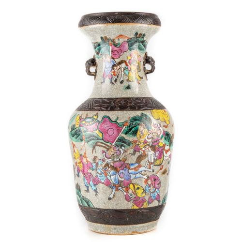 CHINE CHINA Nanjing  Large stoneware vase with craquellated enamel decoration of…