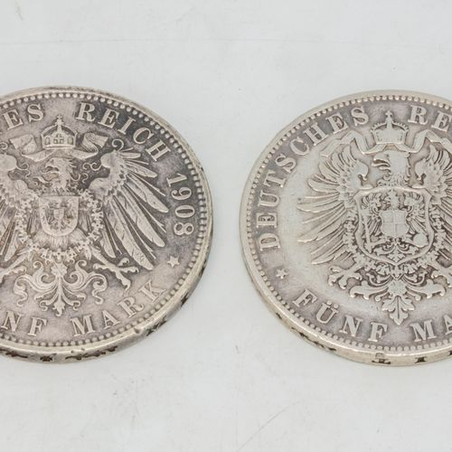 Lot of two coins including :   1 coin of 5 Mark Hamburg 1876, J   1 coin of 5 Ma…