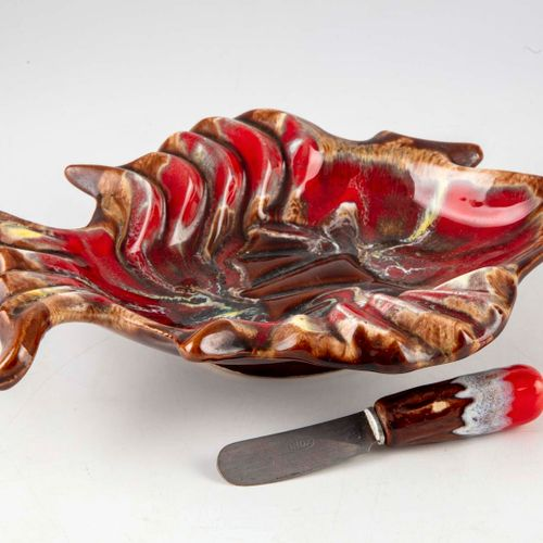VALLAURIS VALLAURIS  Glazed earthenware pocket in the shape of fish.  Mark in ho…