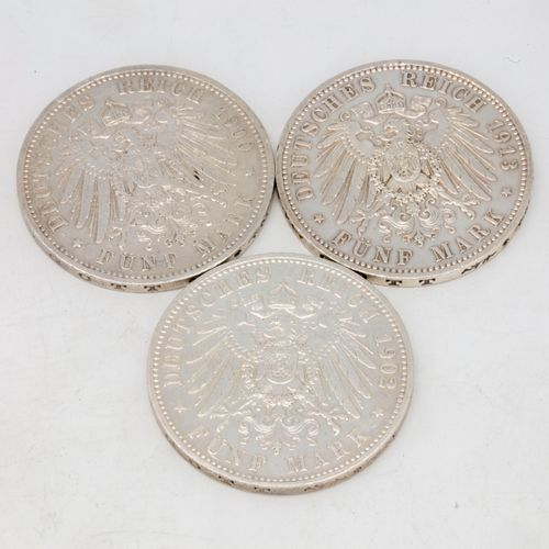 Set of 3 pieces including :   1 coin of 5 Mark Wilhelm II (Wilhelm II), 1902, A …
