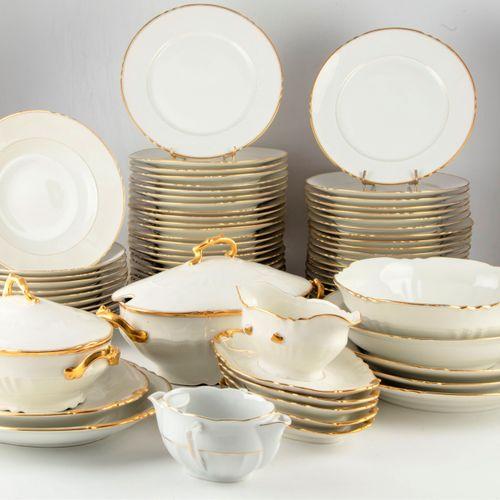 LIMOGES LIMOGES France  Part of a porcelain service with gilded net including : …