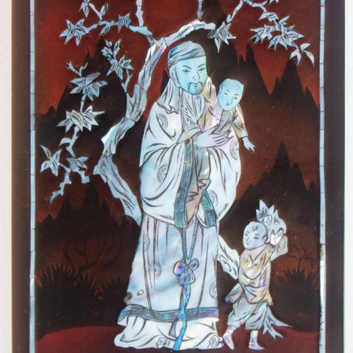 Lacquered wood panel with mother of pearl inlay depicting an Asian scene.  H. 48…
