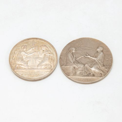 Set of two silver wedding medals including :   Oscar Roty (1846 1911), Semper in…
