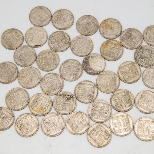 Lot of 36 coins of 10 Francs Turin 1932