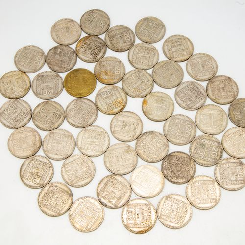 Lot of 45 coins of 20 Francs Turin 1933