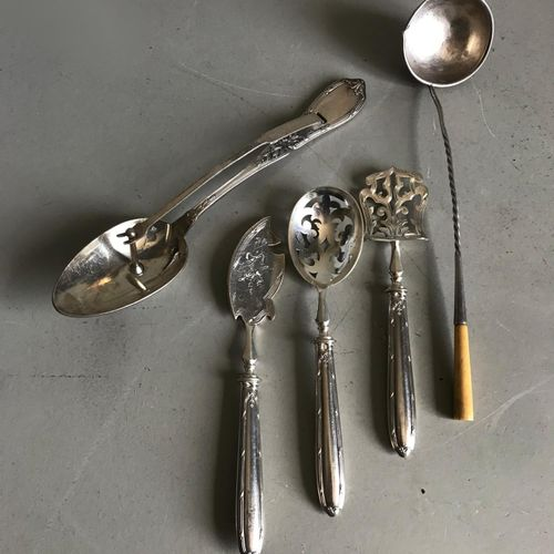 Mismatched set of silver and silver plated bombon cutlery sauce spoons and cream…