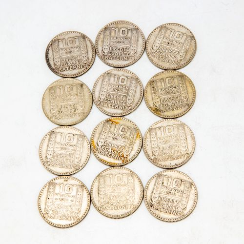 Lot of 12 coins of 10 Francs 1930