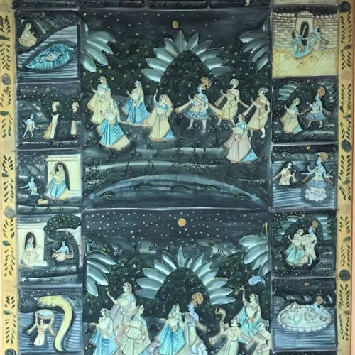 INDE INDIA  Large cloth hanging painted with animated scenes.  163 x 112 cm  Str…