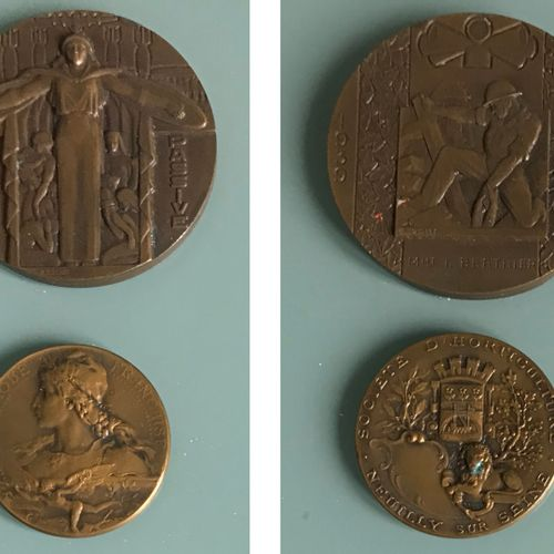 Bronze medal of the Passive Defence (1939 1945) and bronze medal of the Horticul…