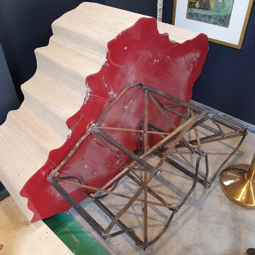 CHINE CHINA  Large rock of a scholar on a beige and red base  L. : 140 cm  Sold …