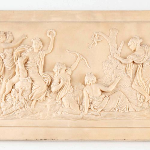 Marble plaque carved in low relief with a mythological scene  18 x 32 cm  (Small…