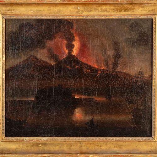 École italienne ECOLE ITALIENNE  Vue du Vésuve en éruption  Huile sur toile  47 …
