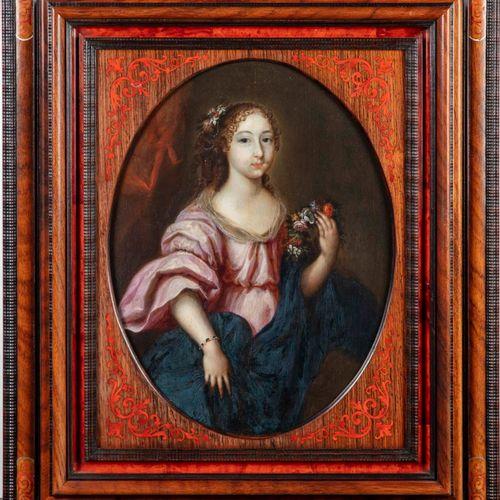 Ecole Flamande XVIIè ECOLE FLAMANDE du XVIIe  Portrait de jeune femme tenant une…