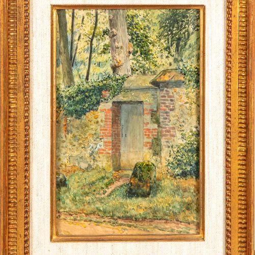 Louis VALLET Louis VALLET  La porte du jardin  Huile sur papier  Signé en bas à …