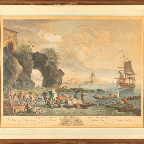 Gravure en couleurs  Vue de Pansylphe pris de Naples  Epoque XIXe  49 x 64 cm à …