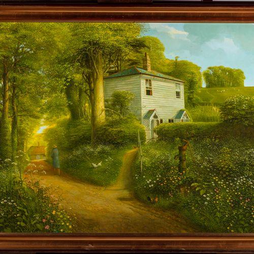 JOHN SHELLEY John SHELLEY (1938 2020)  The Green Lane  Huile sur carton  Encadré…