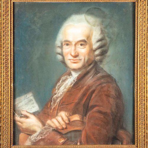 JACQUES ETIENNE LALLIE Jacques Etienne LALLIE  Portrait d'homme à la veste marro…