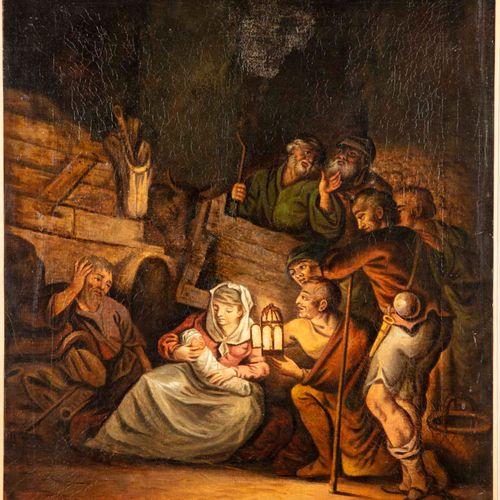 ECOLE du XIXe  L'adoration des bergers  Huile sur toile, rentoilée  76 x 63 cm
