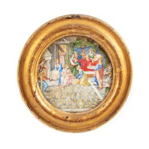 ÉCOLE ITALIENNE XVIe ECOLE ITALIENNE du XVIe  La naissance de la Vierge  Peintur…