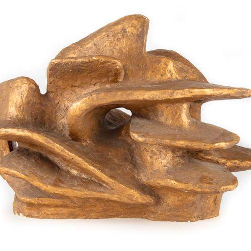 RENEE VAUTIER Renée VAUTIER (1898 1991)  Sculpture abstraite en platre peint dor…